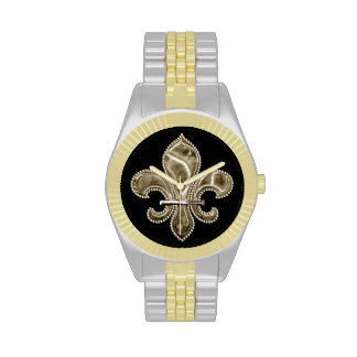 Golden Fleur de Lis on Black Wrist Watches