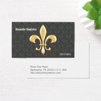 Golden Fleur De Lis on Damask Business Card