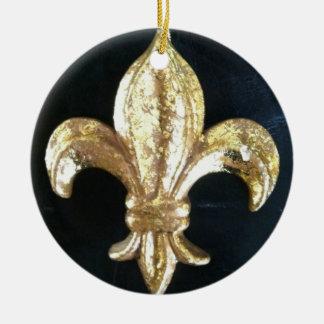 GOLDEN FLEUR DE LIS PRINT CHRISTMAS ORNAMENT