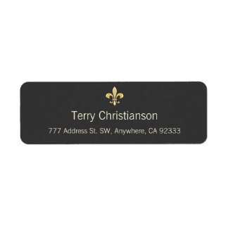 Golden Fleur De Lis Return Address Label