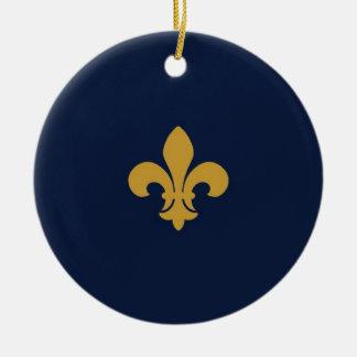 Golden Fleur De Lis Round Ceramic Decoration
