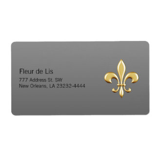 Golden Fleur De Lis Shipping Label