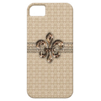Golden Fleur De Lis with Cream Damask Pattern Case For The iPhone 5
