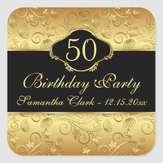 Golden floral 50th Birthday Party Square Sticker