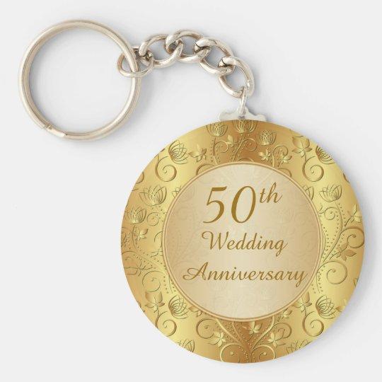 Golden floral 50th Wedding Anniversary Keychain