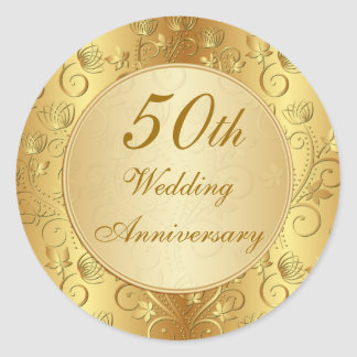 Golden floral 50th Wedding Anniversary Round Sticker