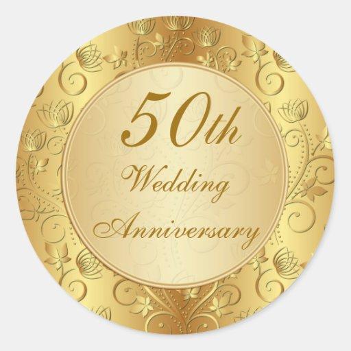 Golden floral 50th Wedding Anniversary Stickers