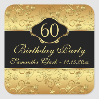 Golden floral 60th Birthday Party Square Sticker