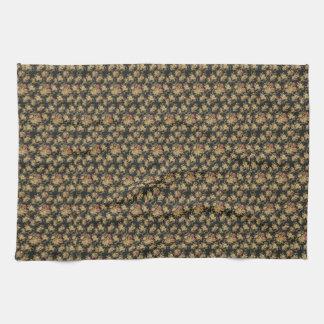 GOLDEN FLORAL ART PRINT FOR KITCHEN TOWEL