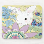 Golden Floral Bunny Mouse Pad