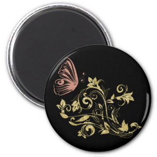 Golden floral butterfly 6 cm round magnet