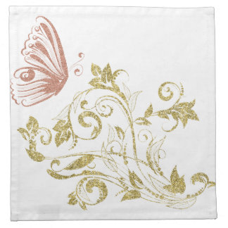 Golden floral butterfly napkin