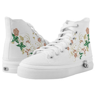Golden floral butterfly printed shoes