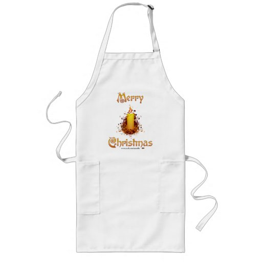 Golden Floral Candle - Merry Christmas Aprons