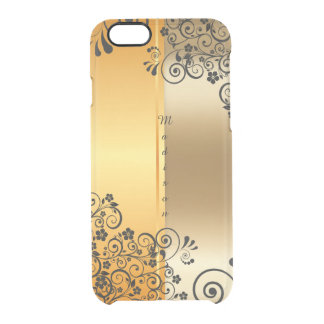 Golden floral clear iPhone 6/6S case