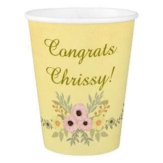 Golden Floral Congrats Theme Paper Cup