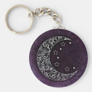 Golden Floral Crescent Moon and Stars on Purple Key Ring