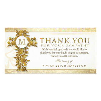 Golden Floral Cross Monogram Thank You Sympathy Photo Greeting Card