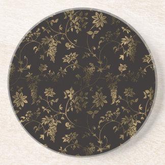 Golden floral decoration coaster