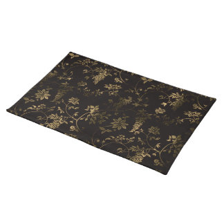 Golden floral decoration placemat