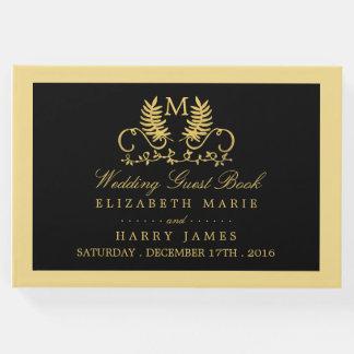 Golden Floral Emblem Wedding Guest Book