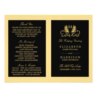 Golden Floral Emblem Wedding Program Flyer