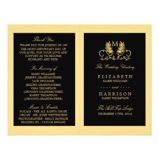 Golden Floral Emblem Wedding Program Flyer