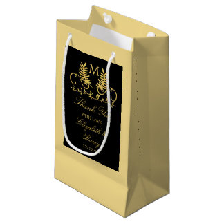 Golden Floral Emblem Wedding Small Gift Bag