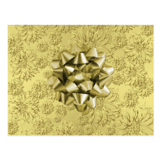 Golden Floral Foil Christmas Wrapping with Bow Postcard