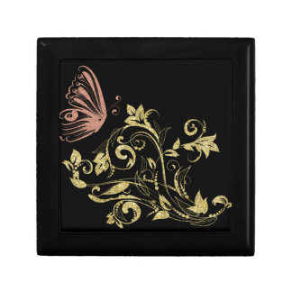 Golden floral gift box