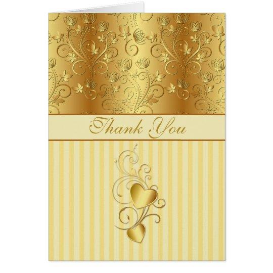 Golden floral, hearts Wedding Thank you Card