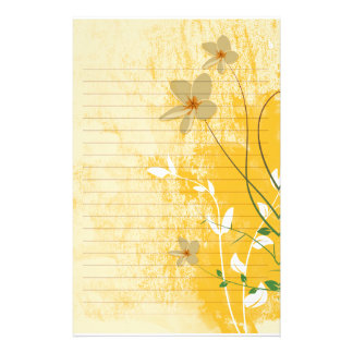 golden floral modern design  lined paper customised stationery