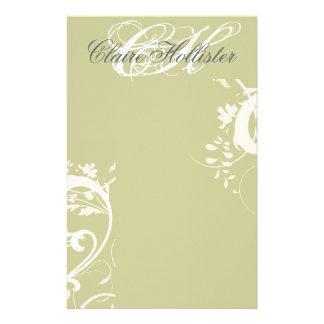 Golden Floral  Monogrammed Custom Stationery