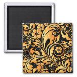 golden floral pattern refrigerator magnet