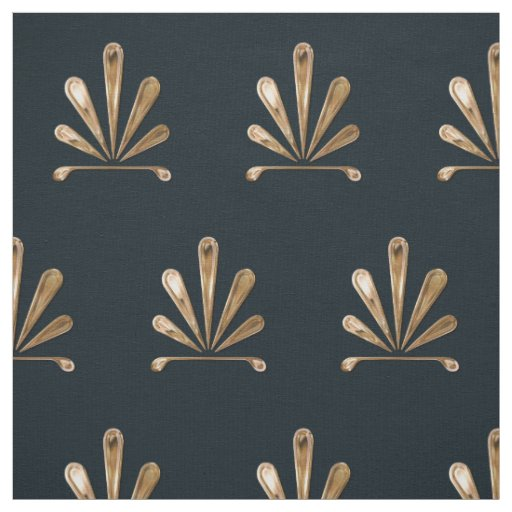 Golden Floral Pattern With Dark Blue Background Fabric