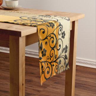 Golden floral short table runner