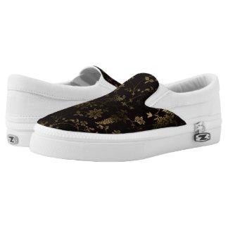 Golden floral Slip-On shoes