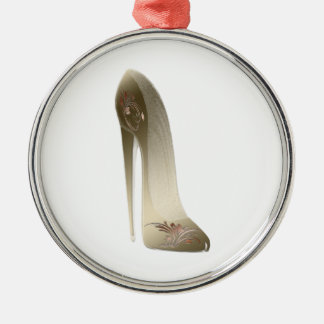Golden Floral Stiletto High Heel Shoe Art Christmas Ornament
