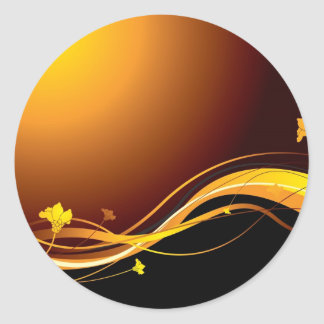 Golden floral sunset classic round sticker