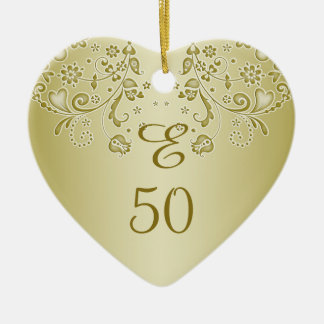 Golden floral swirls 50th Birthday heart Ornament