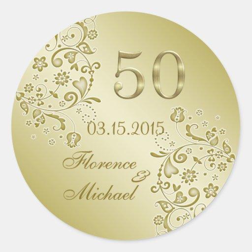Golden floral swirls 50th Wedding Anniversary Round Sticker