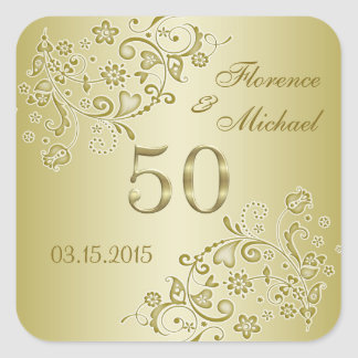 Golden floral swirls 50th Wedding Anniversary Square Stickers