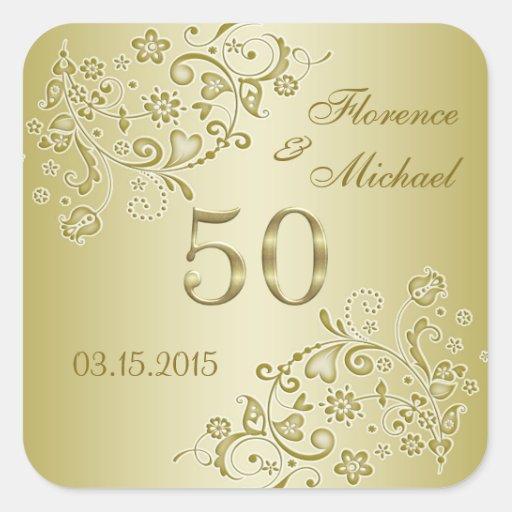 Golden floral swirls 50th Wedding Anniversary Square Stickers
