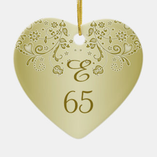 Golden floral swirls 65th Birthday heart Ornament
