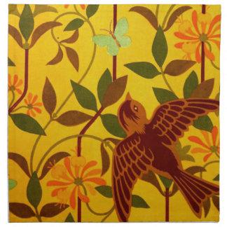 Golden Floral with Bird Textile Cloth Napkins