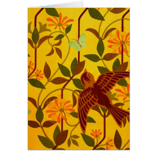 Golden Floral with Bird Textile Greeting Card