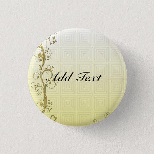 Golden Flourish Template, Customisable 3 Cm Round Badge