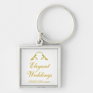 """Golden Flourish"" - (White Background) Silver-Colored Square Key Ring"