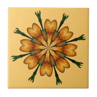 GOLDEN FLOWER by SHARON SHARPE Small Square Tile