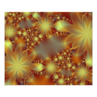 Golden flower lights photo print